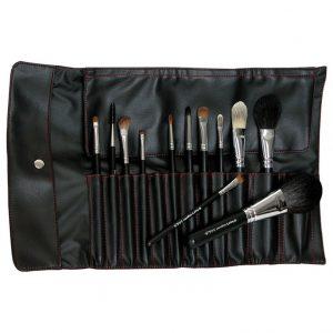 Set 12 pensule machiaj + husa Brush Roll (1)